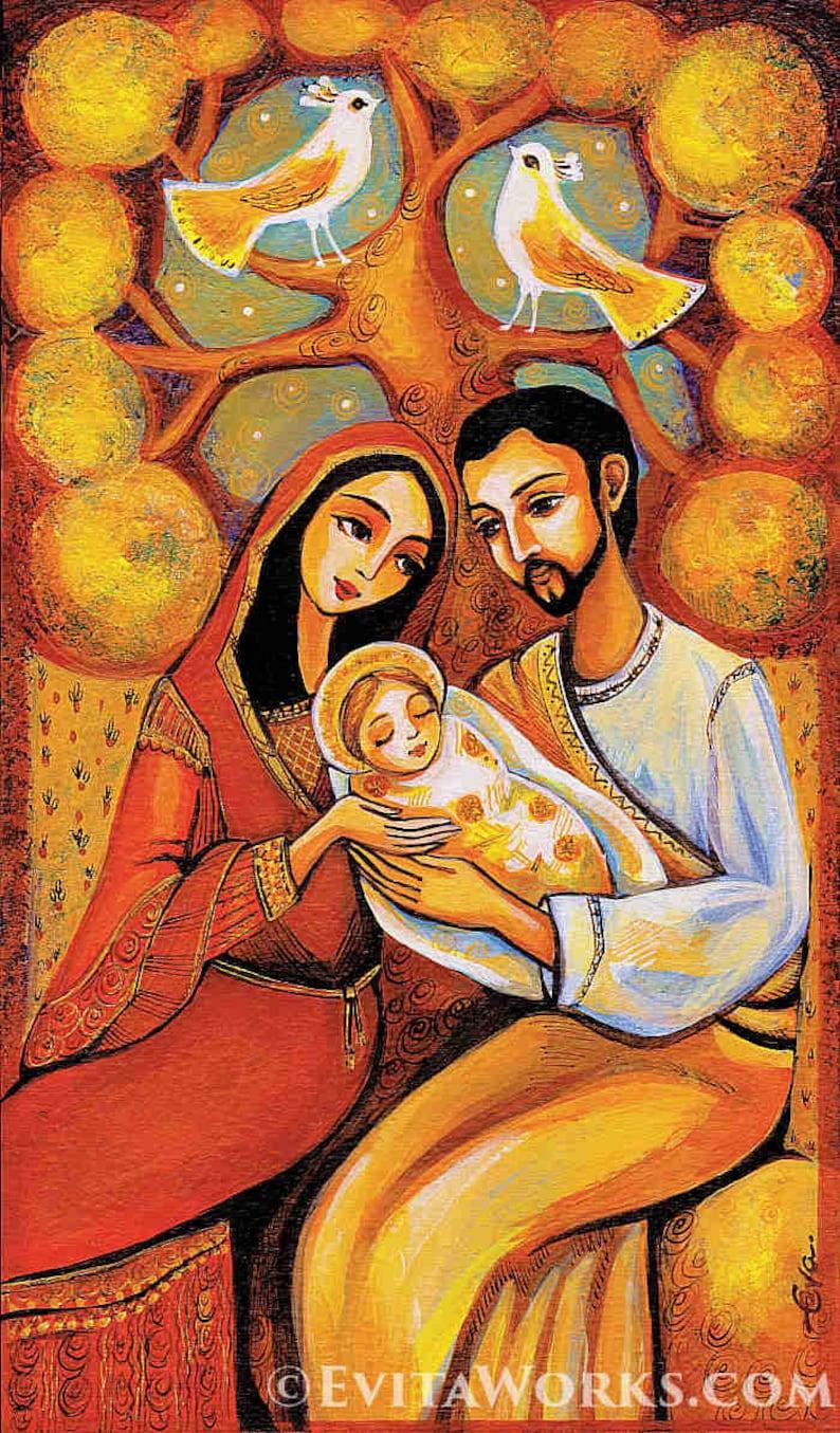 Baum Des Lebens Krippe Heilige Familie Maria Baby Jesus Mutter Sohn Religiöse Malerei Christliche Kunst Biblische Malerei Druck