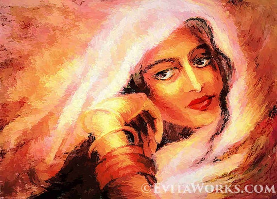 Indian Woman Painting Bollywood Dancer Indian Dance Feminine Decor Beauty Painting Print