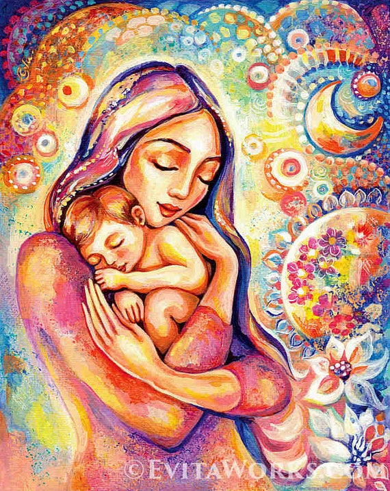 Mother Child Painting Mother Art Mothers Love Nursery Wall Etsy