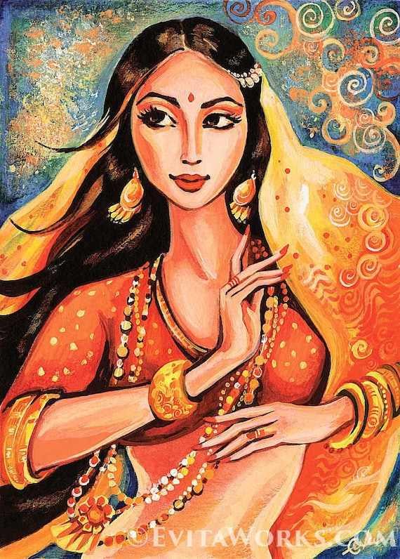 bollywood dance Indian dance belly dance beautiful Indian woman painting  Indian decor art gift art giclee, poster woman wall print