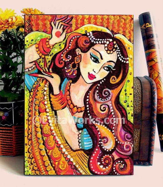 Mermaid Painting Girls Room Decor Indian Woman Painting Home Decor Dancing Girl Folk Art Home Decor Wall Decor Woman Art Woodblock Abdg