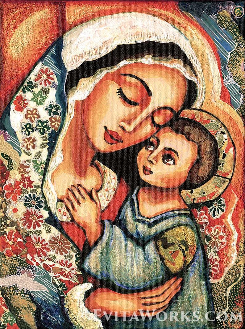Madonna Kind Selige Mutter Maria Jesus Mutter Sohn Mutterschaft Christlichen Kunst Schönheit Malerei Feminine Dekor Druck