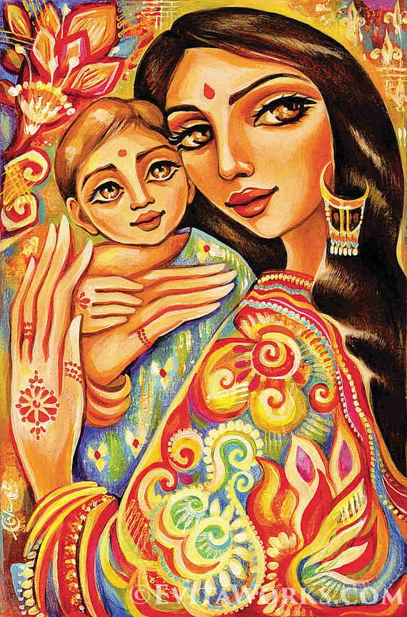 Blessed Mother And Child Modern Art Work