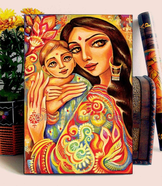 Mother And Child Painting Nursery Art Ethnic Painting Indian Woman Home Decor Wall Decor Woman Art Aceo Wood Block Cg
