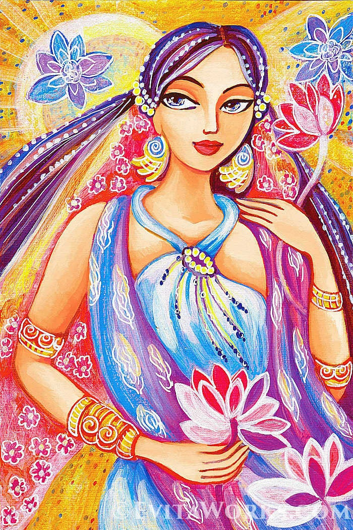 Indian art Indian woman painting Lotus art goddess art   Etsy