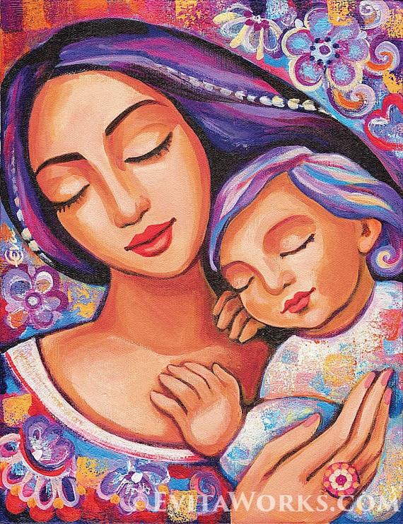 Mother Child Motherhood Art Nursery Wall Art Beauty Etsy
