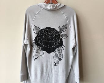 Women's Gray Rose Heavy Knit Cardigan
