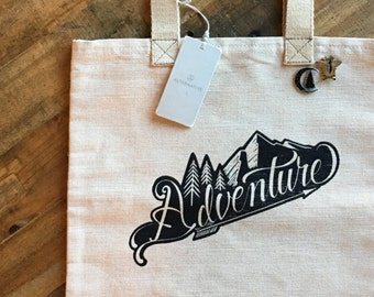 Adventure Jute Shopper Tote Bag