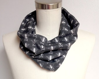 adult organic cotton black bee cowl scarf