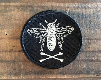 Black/Antique White Bee and Crossbones Patch