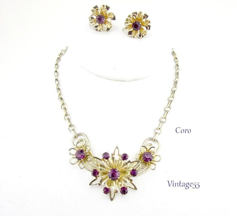 d70f5ca21 Purple Rhinestone Floral Necklace Retro 1940 Coro | Etsy