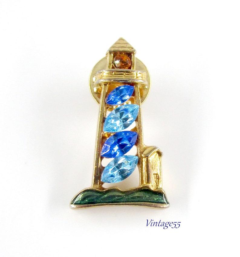 Rhinestone Lighthouse Tie Tac Blue Gold tone Enamel
