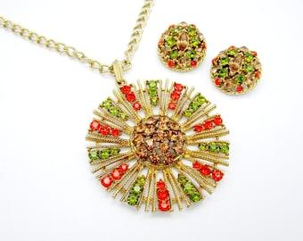 Fall Rhinestone Pendant Necklace Earring Set Vintage