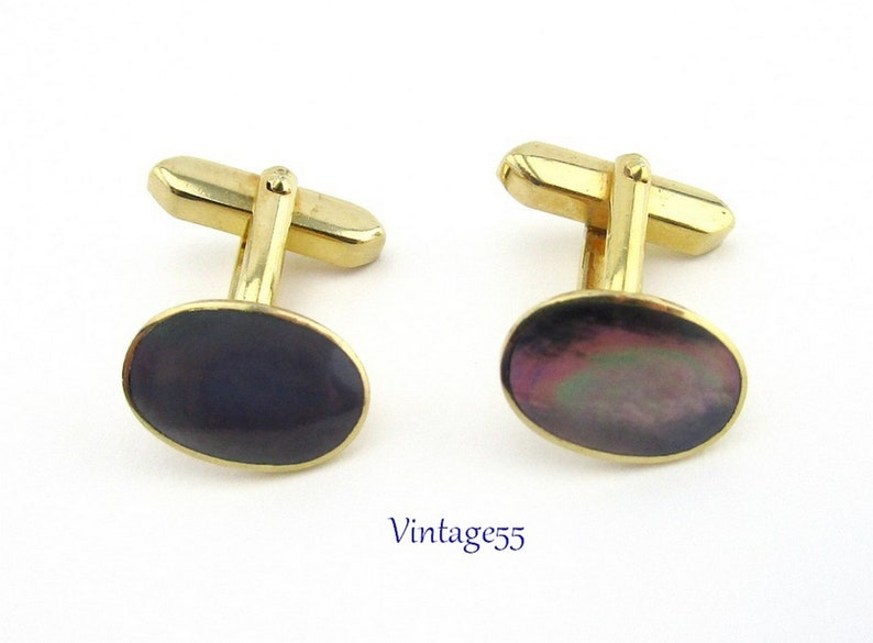 Cuff links Mother Of Pearl Gray Vintage
