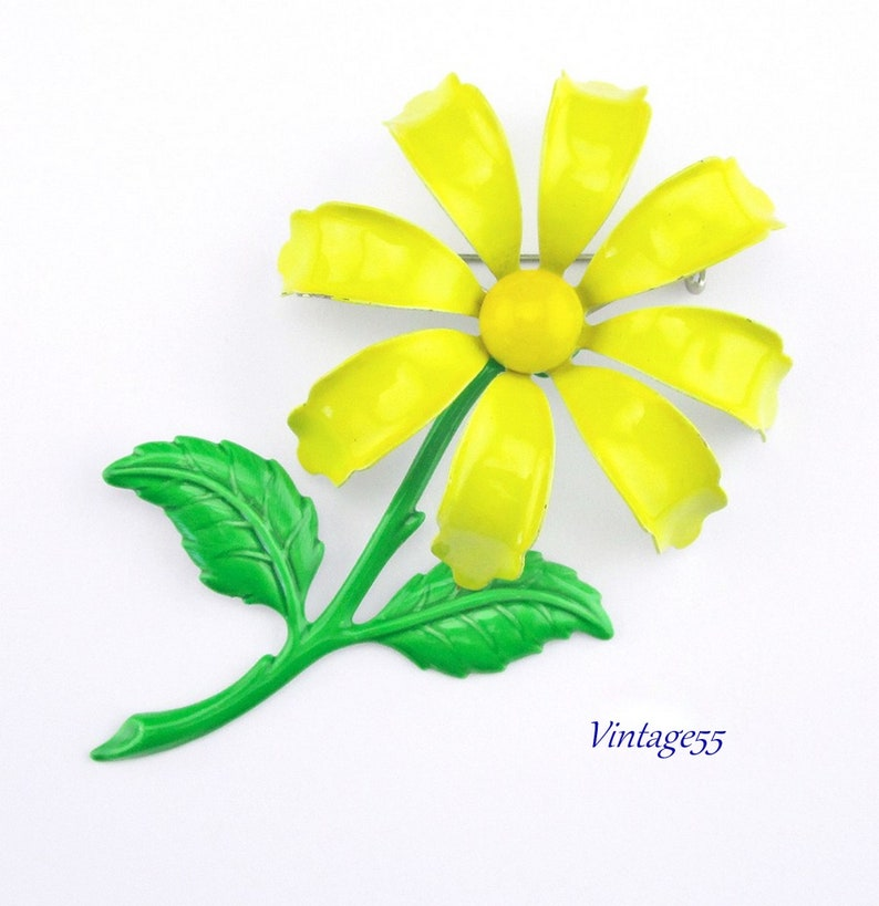 Brooch Summer Yellow Flower Enamel Large