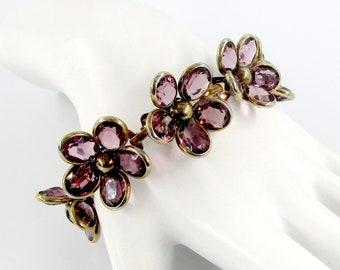 Trifari Bracelet Purple Amethyst Glass Floral