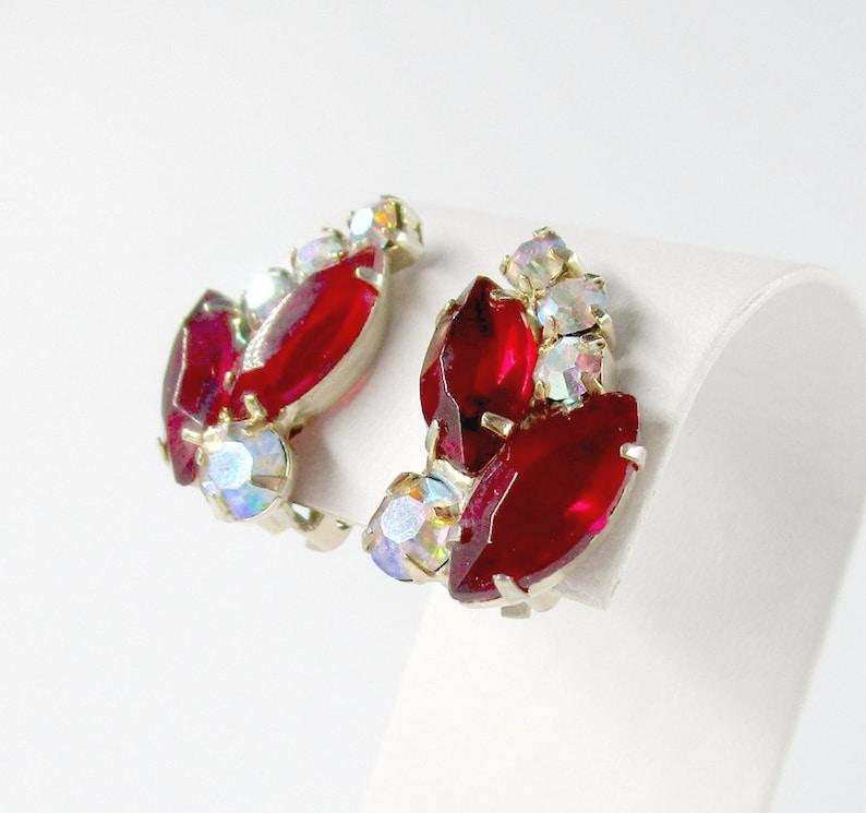 Red Rhinestone Earrings Silver tone Clip On