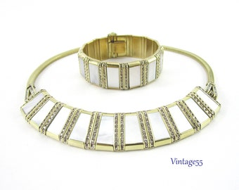 Mop Necklace Bracelet Set Rhinestone Germany