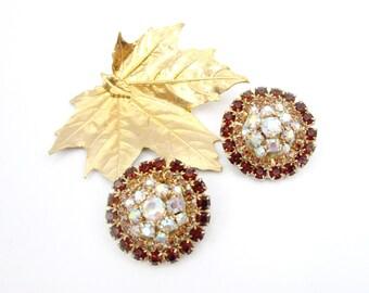 Earrings Rhinestone Topaz Gold Aurora Borealis Clip on