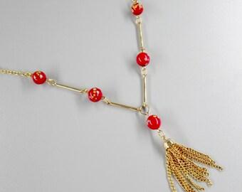 Venetian Treasure Tassel Necklace Red Venetian Beads Gold tone