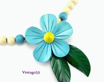 Necklace Blue Flower Summer Beach Tropical
