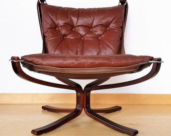 FALCON CHAIR by Sigurd Ressell for Vatne Mobler NORWAY, low back version with leather cushion, Scandinavian bentwood sling chair