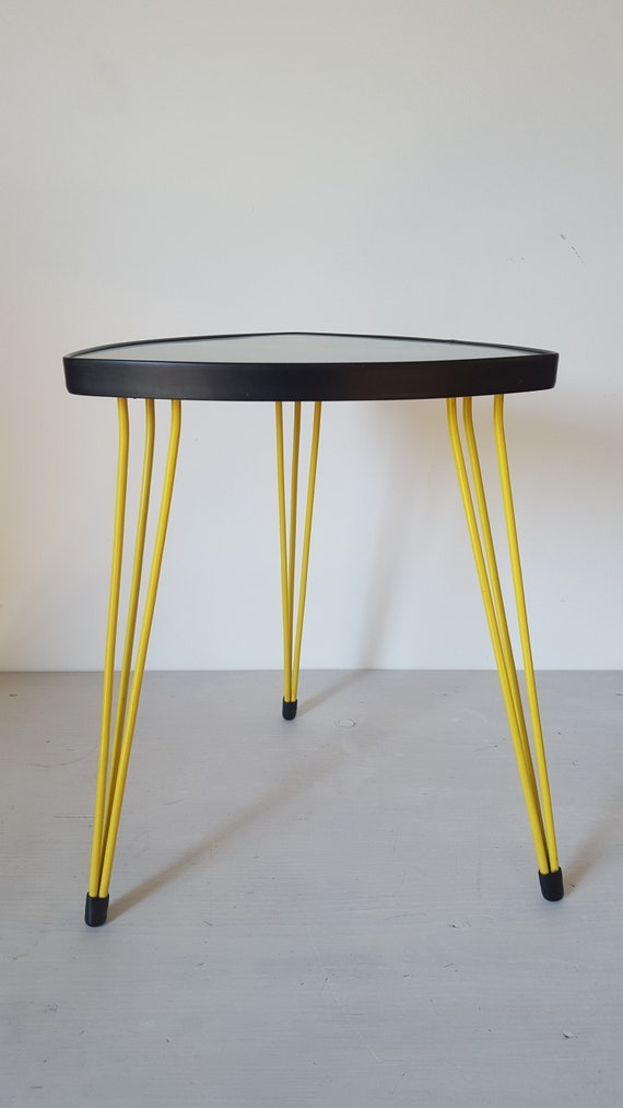 Fantastic 60s Tripod Table Yellow Legs Small Mid Century Coffee Table Triangle Three Leg Table Vintage 50s Nierentisch Plant Stand