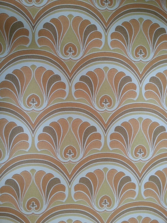 Vintage Wallpaper 1970s Original 70s Full Roll Geometric Wall Paper New Old Stock