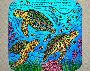 3 Loggerheads Sea Turtles Coasters Set of 4