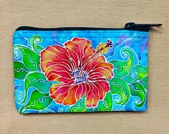 Coin Purse, Change Purse, Coin Bag, Tropical Hibiscus artwork
