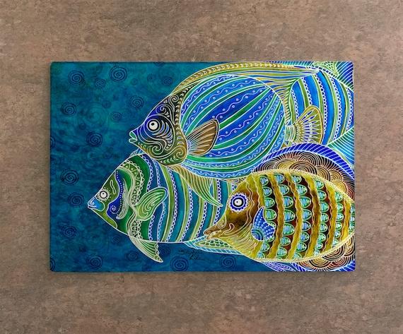 Tropical Fish School Cutting Board with Fish Artwork