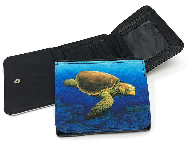 Turtle Artwork Purse Loggerhead Turtle Wallet small wallet Women/'s Wallet