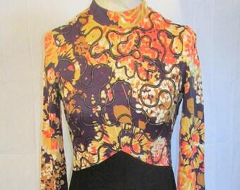Vintage 1970s Hostess Gown Evening Dress Brown Orange Black Rhinestone Accents Floor Length Dress Vintage Size 10/Modern Size 6