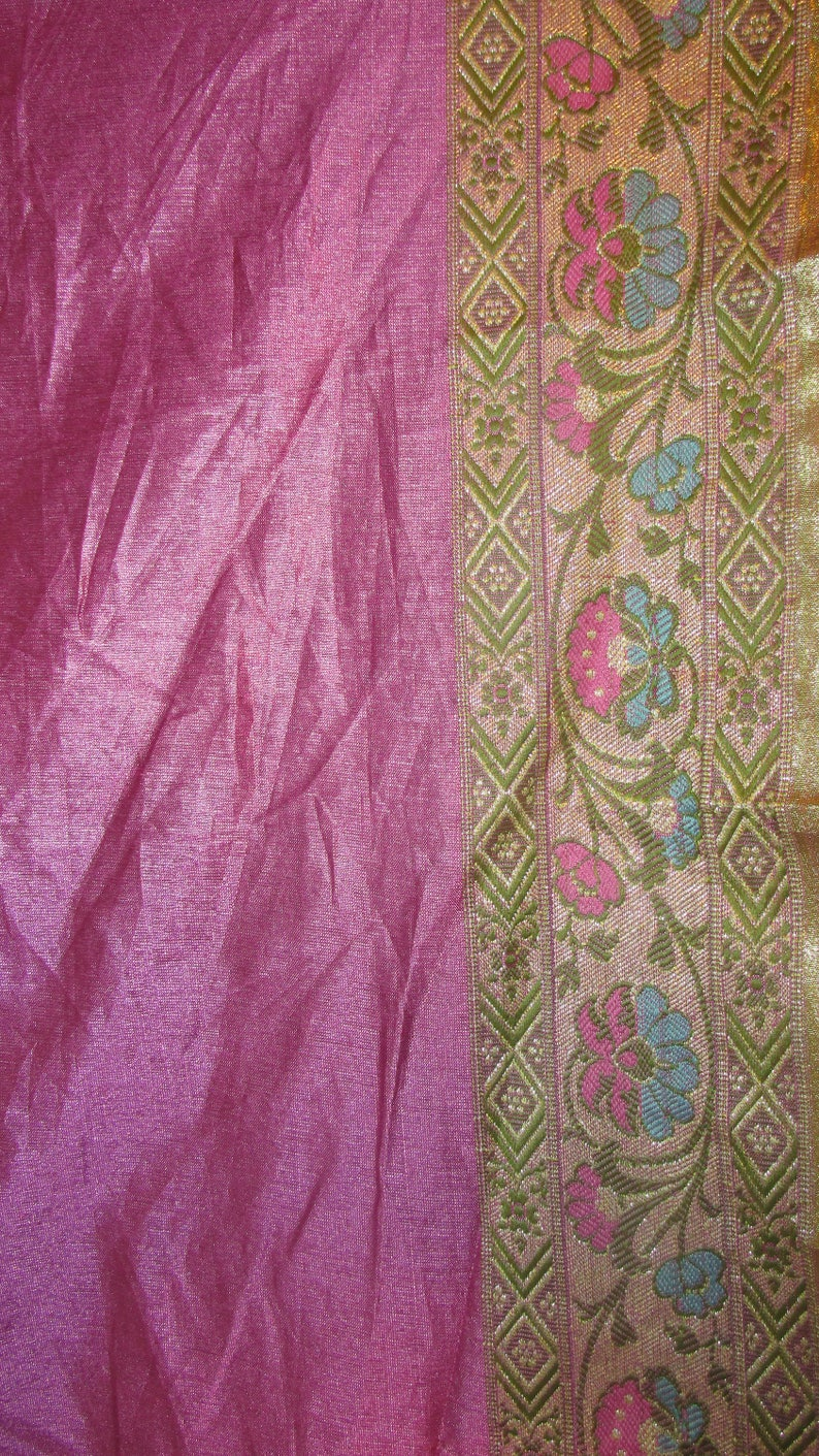 e93e92d46 Vintage Silk Sari Pieces Sari Border Pink Metallic Gold Silk | Etsy