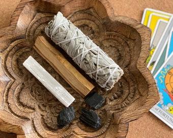 Smudge Kit - Sage/Palo Santo Bundle - Negative Energy Clearing Kit