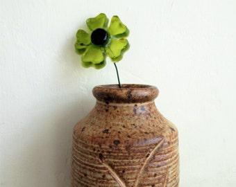 Vintage Stoneware Vase, Midcentury Modern Stoneware Pottery Vase, Stoneware Pottery, Mid Century Vase, Earthenware, Brown Glazed Vase