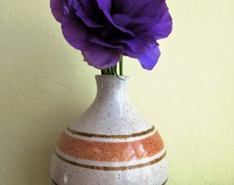 Vintage PotteryCraft Vase, California Pottery, Striped Vase, Mid Century Modern, Midcentury Pottery, Glazed Bud Vase, Stoneware Vase