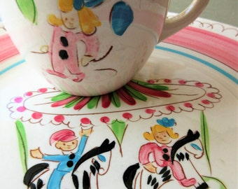 Vintage Stangl Kiddieware, Stangl Carousel, Pink Carousel, Vintage Dishware, Child's Dishes, Stangl Dishes, Stangl Pottery Cup Plate, Circus