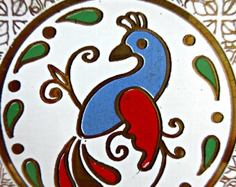 Vintage Houze Art Glass Dish, Pennsylvania Dutch Hex Sign Dish, Bird Dish, Houze Trinket Dish, Midcentury Houze, Vintage Distelfink Dish