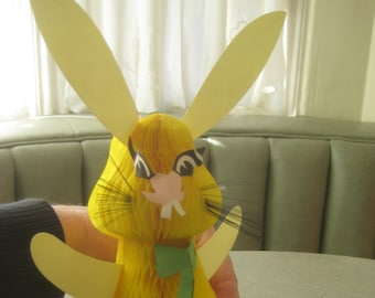 Vintage Easter Bunny, Easter Decor, Honeycomb Tissue, Holiday Decor, Yellow Rabbit, Made in Denmark, Paper Rabbit, Easter Centerpiece