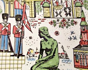 Vintage Plate, Souvenir Plate, Vintage Copenhagen Souvenir, Norway Souvenir, Norwegian Plate, Decorative Plate, Scandianavian Design