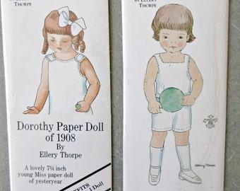 Vintage Paper Dolls, Ellery Thorpe Paper Dolls, Jules Boy Doll, Dorothy Paper Doll, NOS, Boy Paper Doll Dandy 1886, 1908 Girl Paper Doll