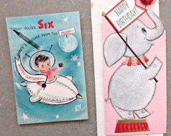 Vintage Greeting Cards Child Birthday Six Year Old Spaceman Card Elephant 6 Pin
