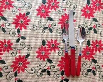 Vintage Burlap, Printed Burlap, Red Flowers, Burlap Fabric, Burlap Runner, Vintage Fabric, Rustic Fabric, Burlap Table Covering