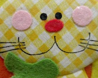 Vintage Package Topper, Fabric Cat Package Decoration, Gingham Cat, Cute Kawaii Zakka, Made in Taiwan, Flat Fabric Cat, NOS, Gift Decoration