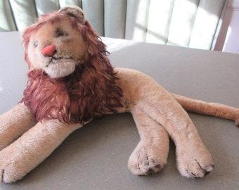Vintage Stuffed Lion, Mohair Lion, Lion Stuffed Animal, Probably Steiff Lion, Reclining Lion, Leo the Lion, Vintage Steiff Lion No Button