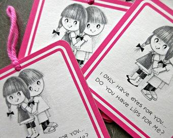 Vintage Cards, Love Cards, Kitschy Cards, Boy and Girl, Hot Pink, Zakka, Sweetheart Cards, 1970s Stationery, Vintage Paper Ephemera, Kawaii