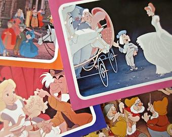 Vintage Disney Film Images, Disney Film Cards, Sleeping Beauty Card, Cinderella Postcard, Alice in Wonderland, Snow White and Seven Dwarves