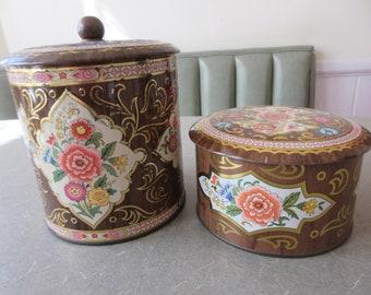 Vintage Tins, Faux Bois Floral Tins, Tin Set, Daher Tins, Lidded Storage Tins, Made in England, Metal Lidded Tins, Lidded Storage Container