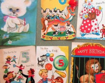 Vintage Greeting Cards Card Lot Child Birthday Specific Year Birthdays Scrapbooking Supply Cute Kawaii Zakka